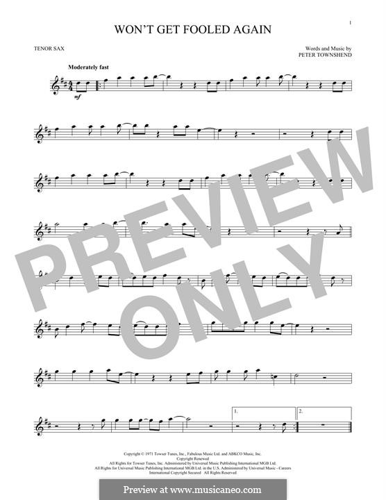 Won't Get Fooled Again (The Who): For tenor saxophone by Peter Townshend