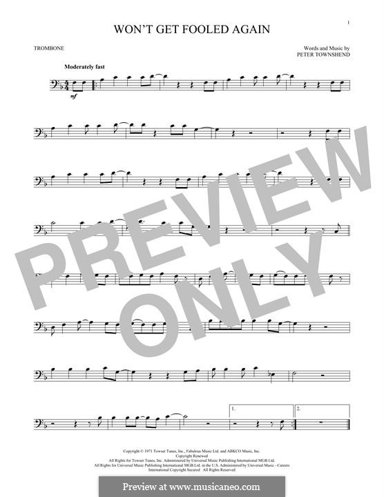 Won't Get Fooled Again (The Who): For trombone by Peter Townshend
