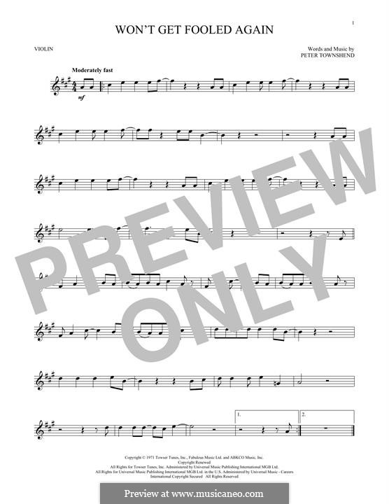 Won't Get Fooled Again (The Who): For violin by Peter Townshend