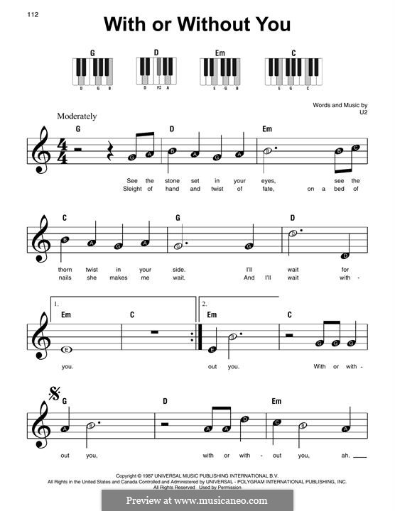 With or without You: For easy piano by U2