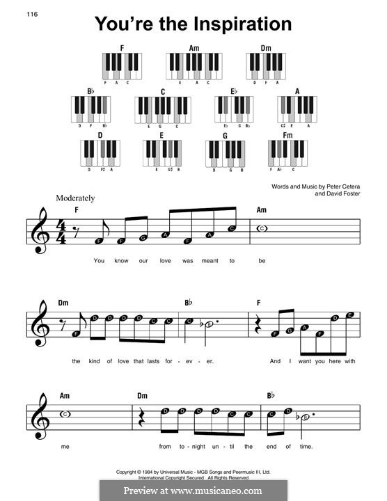 You're the Inspiration (Chicago): For easy piano by David Foster, Peter Cetera