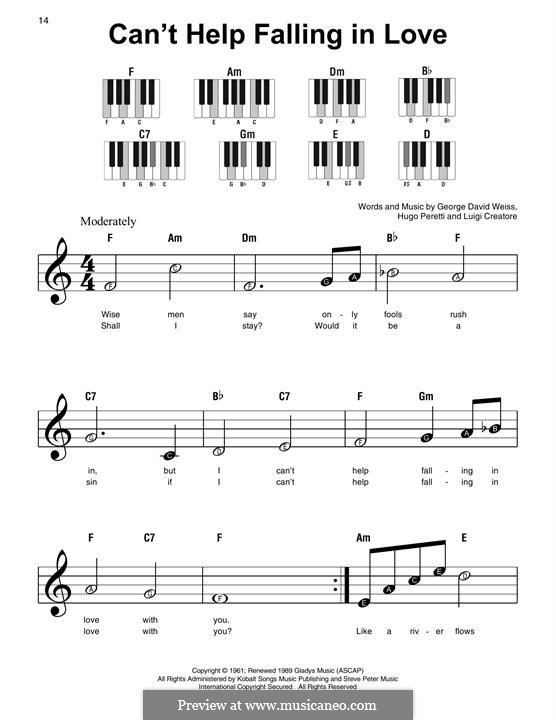 Can't Help Falling in Love: For easy piano by George David Weiss, Hugo Peretti, Luigi Creatore