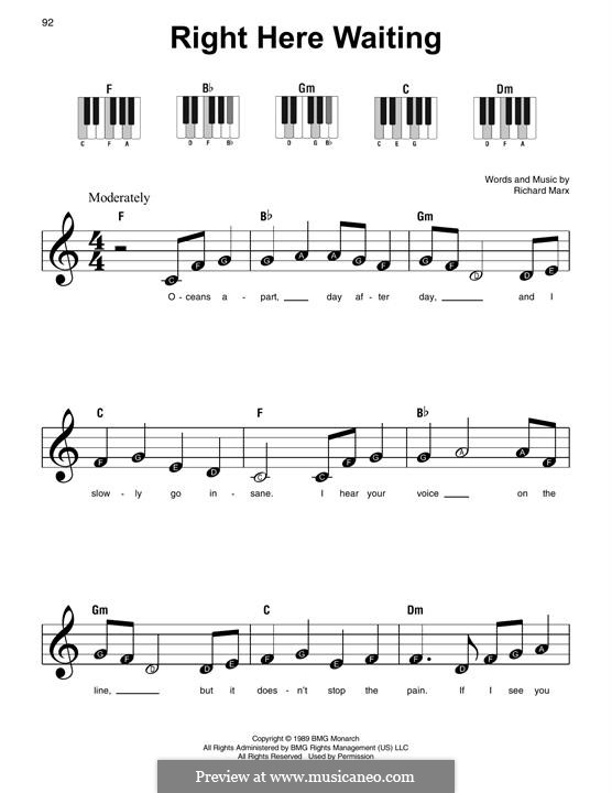 Right Here Waiting: For easy piano by Richard Marx