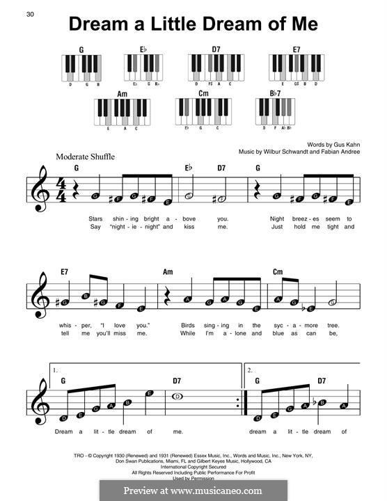 Dream a Little Dream of Me (The Mamas & The Papas): For piano by Fabian Andree, Wilbur Schwandt