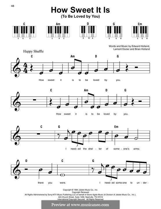 How Sweet It Is (To Be Loved By You): For easy piano by Brian Holland, Edward Holland Jr., Lamont Dozier