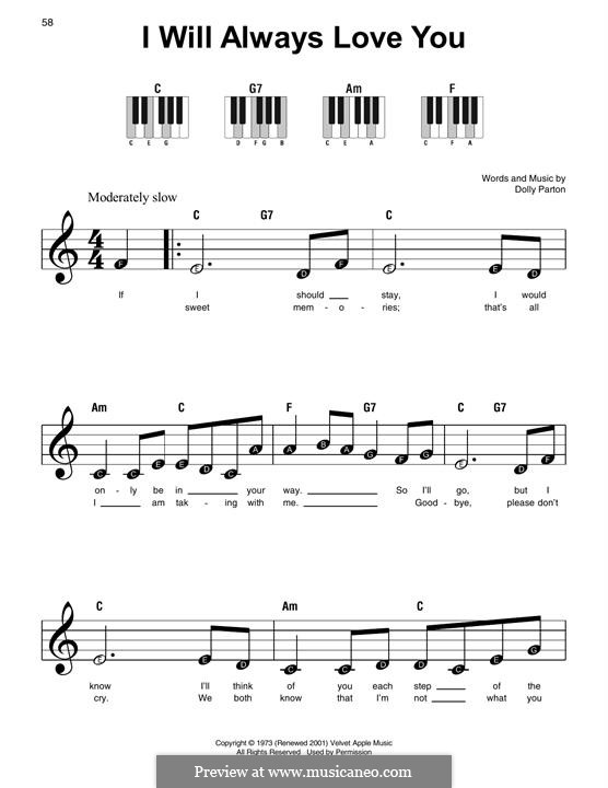 I Will Always Love You (Whitney Houston): For easy piano by Dolly Parton