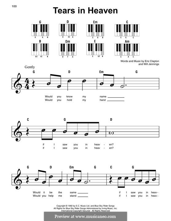 Tears in Heaven: For easy piano by Eric Clapton, Will Jennings