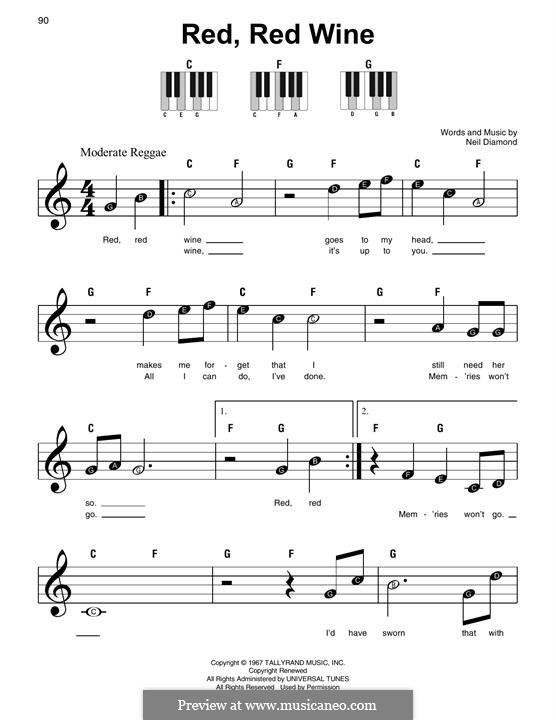 Red, Red Wine (UB40): For easy piano by Neil Diamond