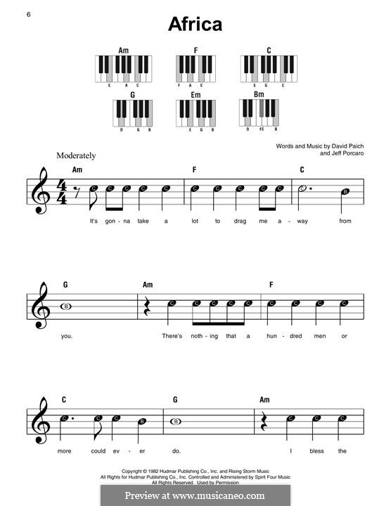 Africa (Toto): For easy piano by David Paich, Jeff Porcaro