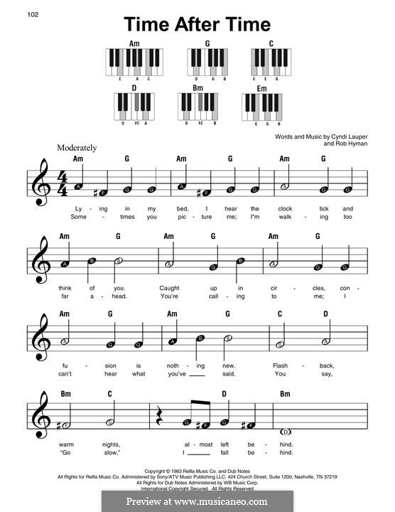 Time after Time: For easy piano by Cyndi Lauper, Robert Hyman