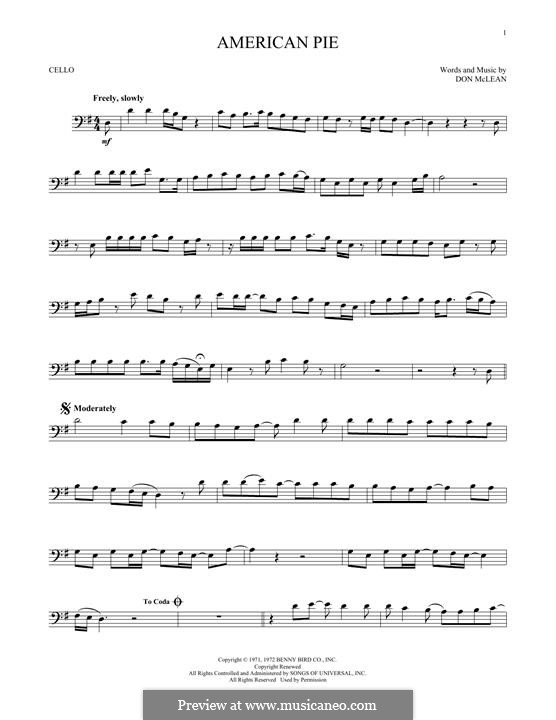 American Pie (Madonna): For cello by Don McLean