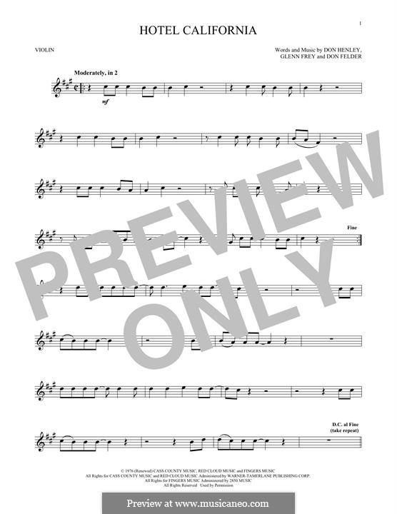 Hotel California (The Eagles): For violin by Don Felder, Don Henley, Glen Frey