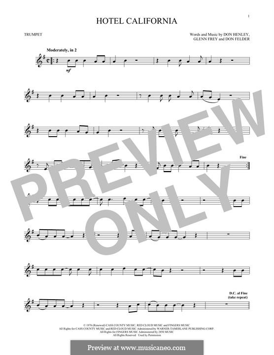 Hotel California (The Eagles): For trumpet by Don Felder, Don Henley, Glen Frey