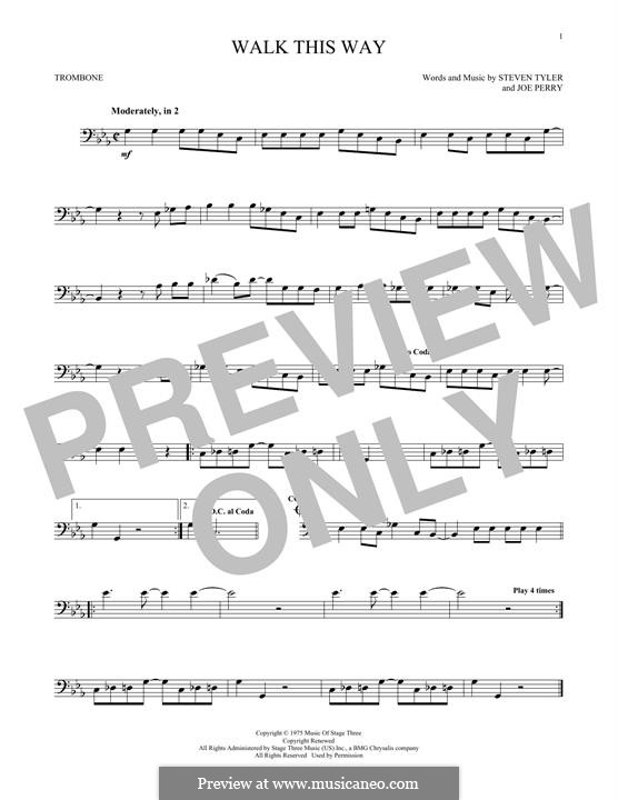 Walk This Way (Aerosmith and Run D.M.C.): For trombone by Joe Perry, Steven Tyler