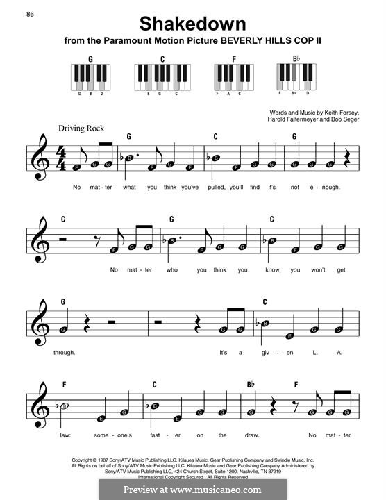 Shakedown (from Beverly Hills Cop II): For easy piano by Harold Faltermeyer, Keith Forsey