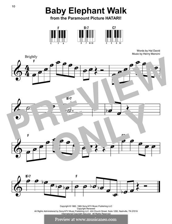 Baby Elephant Walk: For easy piano by Henry Mancini