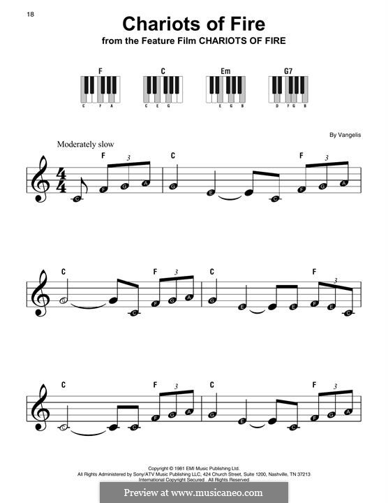 Chariots of Fire: For easy piano by Vangelis