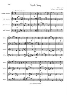 Cradle Song: For recorder quartet by William Byrd