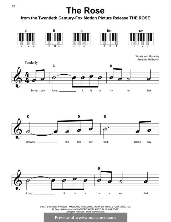 The Rose (Bette Midler): For easy piano by Amanda McBroom