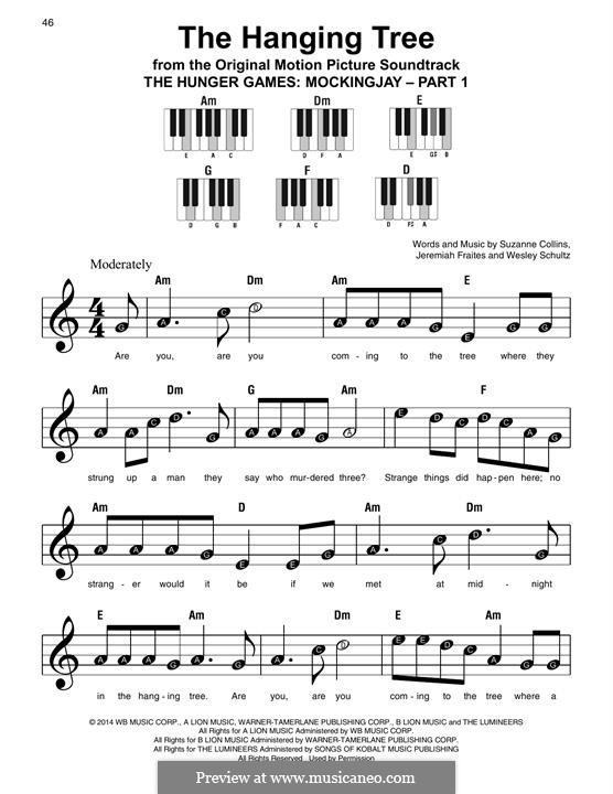 The Hanging Tree: For easy piano by Jeremy Fraites, Wesley Schultz, Suzanne Collins
