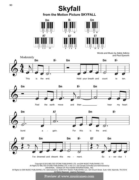 Skyfall By Adele P Epworth Sheet Music On Musicaneo