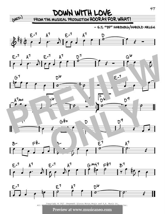 Down with Love: For guitar by Harold Arlen