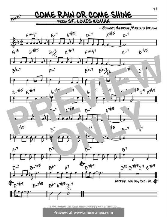 Come Rain or Come Shine: For guitar by Harold Arlen