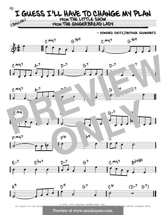 I Guess I'll Have to Change My Plan (Frank Sinatra): For guitar by Arthur Schwartz