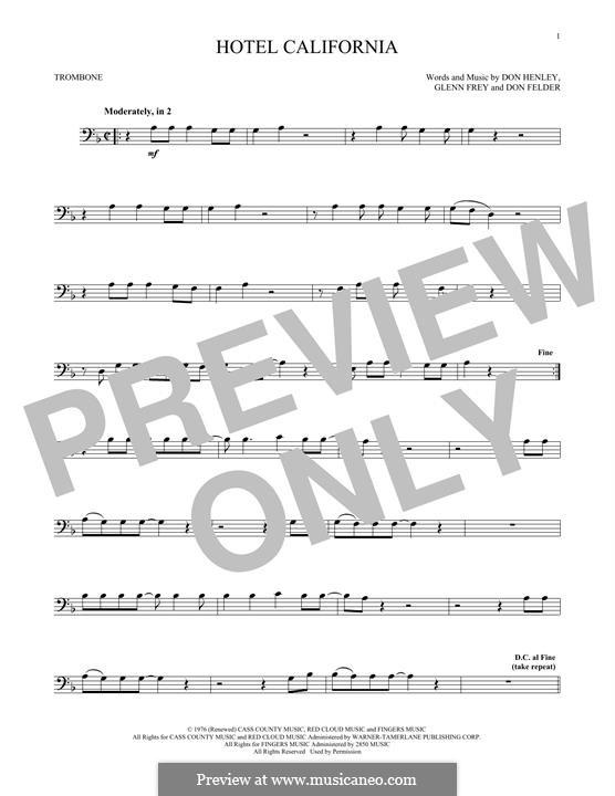 Hotel California (The Eagles): For trombone by Don Felder, Don Henley, Glen Frey