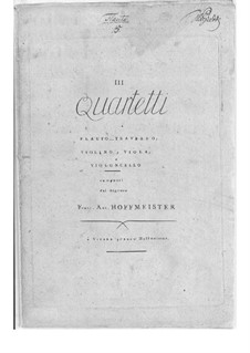 Three Сoncert Quartets for Flute, Violin, Viola and Cello, Op.29: Parts by Franz Anton Hoffmeister