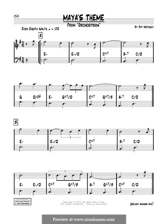 Maya's Theme: For guitar by Pat Metheny