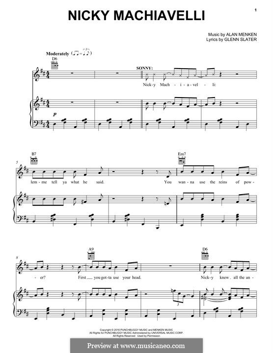 Nicky Machiavelli: For voice and piano (or guitar) by Alan Menken