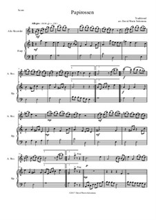 Papirossen: For alto recorder and harp by folklore