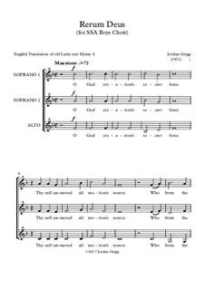 Rerum Deus (for SSA Boys Choir): Rerum Deus (for SSA Boys Choir) by Jordan Grigg