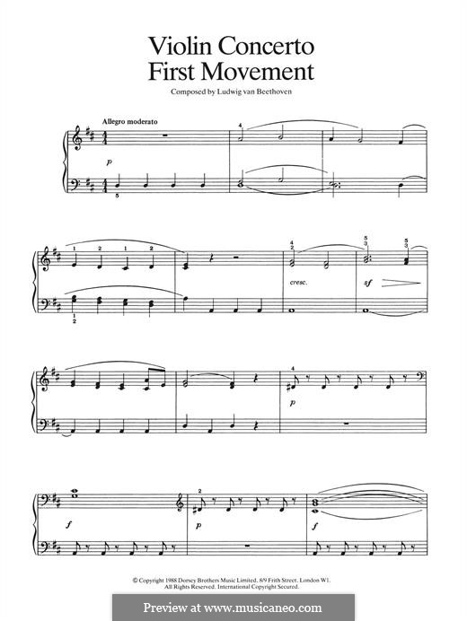 Concerto for Violin and Orchestra in D Major, Op.61: Movement I (fragment), for piano by Ludwig van Beethoven