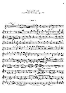 Vodník (The Water Goblin), B.195 Op.107: Oboes and cor anglais parts by Antonín Dvořák