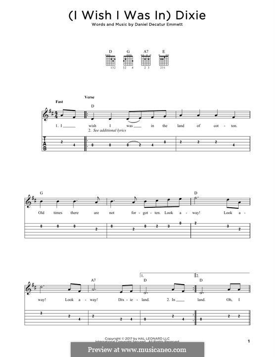 Dixie: For guitar by Daniel Decatur Emmett