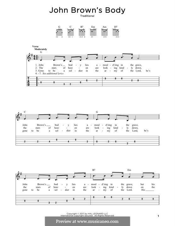 John Brown's Body: For guitar by folklore