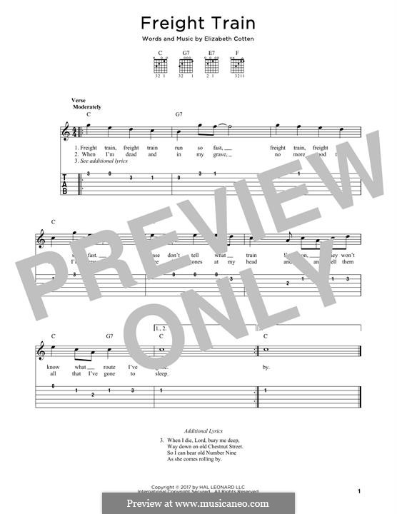 Freight Train: For guitar by Elizabeth Cotten