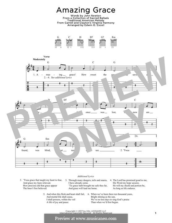 Amazing Grace (Printable Scores): For guitar by folklore