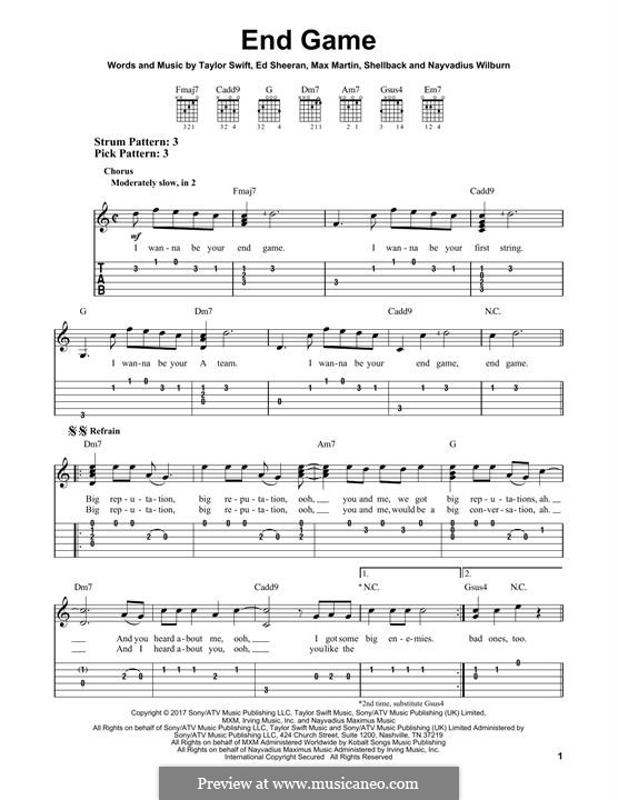 End Game (feat. Ed Sheeran and Future): For guitar by Ed Sheeran, Shellback, Max Martin, Taylor Swift, Nayvadius Wilburn