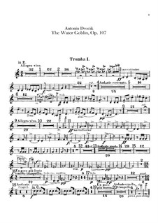 Vodník (The Water Goblin), B.195 Op.107: Trumpets parts by Antonín Dvořák