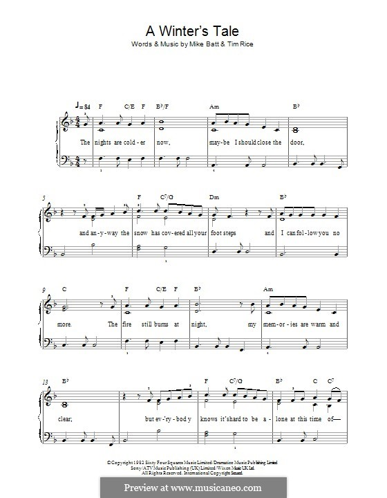 A Winter's Tale (David Essex): For piano by Mike Batt