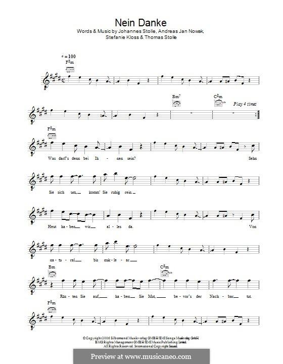 Nein Danke (Silbermond): Melody line by Johannes Stolle, Thomas Stolle, Andreas Jan Nowak, Stefanie Kloss