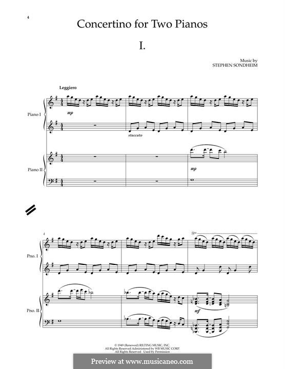 Concertino for Two Pianos: For piano by Stephen Sondheim