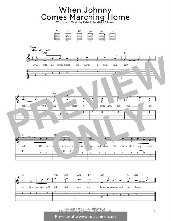 When Johnny Comes Marching Home: For guitar by Patrick Sarsfield Gilmore