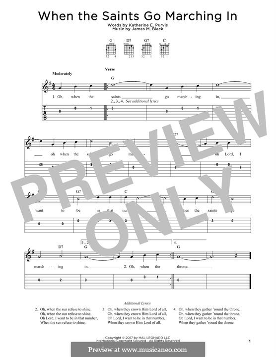 When the Saints Go Marching In: For guitar by James Milton Black