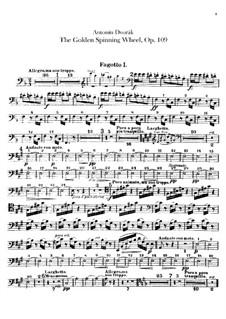 Zlatý kolovrat (The Golden Spinning Wheel), B.197 Op.109: Bassoons and contrabassoon parts by Antonín Dvořák