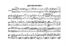 Quartet No.2 in G Major: Version for piano four hands – parts by Ludwig van Beethoven