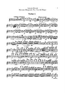 Rhapsody No.3 in A Flat Major: Violin I parts by Antonín Dvořák